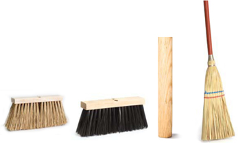 Street brooms & handles, Palmyra stalks, poly, lobby broom